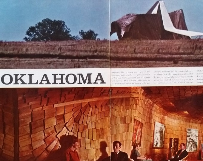 OK Prairie Chicken House Norman Oklahoma Herbert Green Color Photo Spread 3 pages Organic Modernism Iconic Nature 13 x 10 Ready Frame