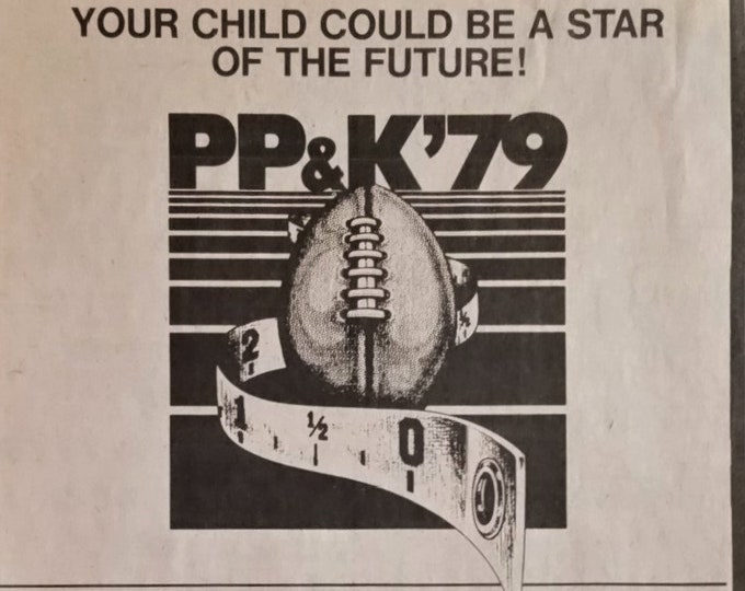Punt, Pass, & Kick 1979 Vintage Kids games contests 1979 Lakeview, MI Newspaper Clipping 7x9 Illustrated Football Iconic Ready for Framing.