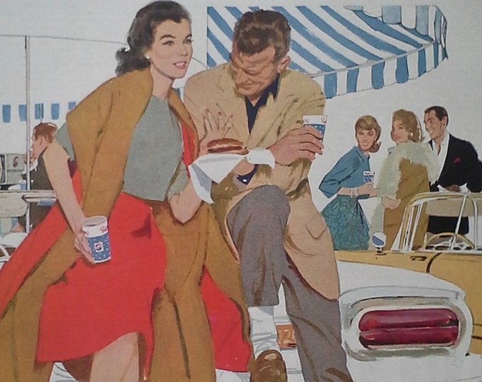 """Pepsi Drive-In Ad Vintage 60s Couple at Burger Joint.  Couple Convertible Classic Fashion  Post Modern. """"Sociables"""".  13 x 10.  Ready Frame"""