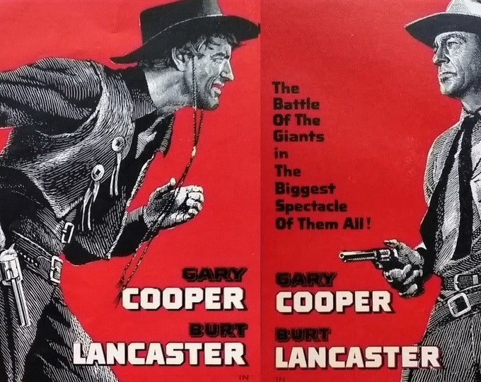 Burt Lancaster Gary Cooper 'Vera Cruz' Movie Poster 2 1/2 pages Illustrations Spaghetti Western 1954.  Fun Hollywood Poster.  Ready Frame.