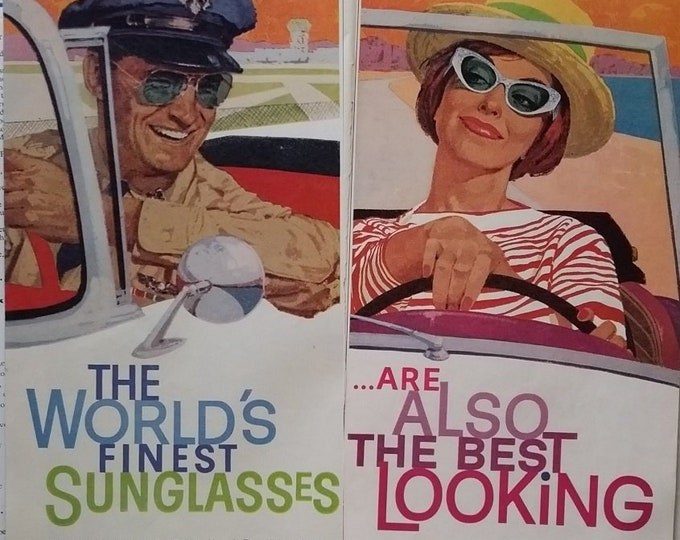 Ray Ban Very Cool Illustration Flirting Airplane Pilot Suave Sexy Lady 2 x 1/2 pp Smiling 60s 'World's Finest' 'Best Looking'  10x13 Frame