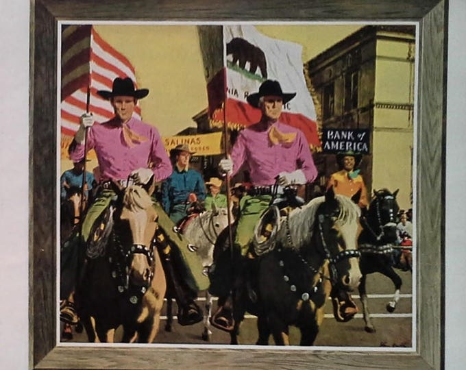 1954 California Bank Ads Illustrated Pasedena Palm Springs Calexico Tournament Roses Cowboys Ad Art Bank of America 5pps 13x10 Frame