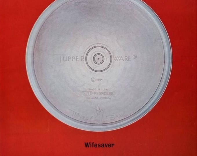 Tupperware Ad 1960s Iconic 'Wifesaver' Deep red background Patented Burp Top Kitchen art New Homeowner Wall Art Pantry 13x10 Ready to Frame