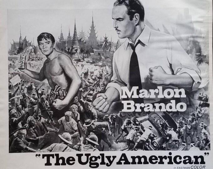"Marlon Brando 60s Movie Poster Lot (2) ""The Ugly American"" ""Bedtime Story""  BW Illustration Shirley Jones David Niven Classic Movies 13 x 10"