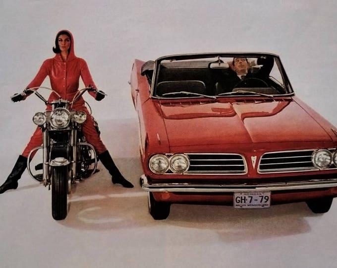 64 Pontiac Tempest Red Convertible vs. Harley Davidson 1964 Riding Brunette Flirt Sexy Boots Fashion Battle Sexes Funny Awkward Ready Frame