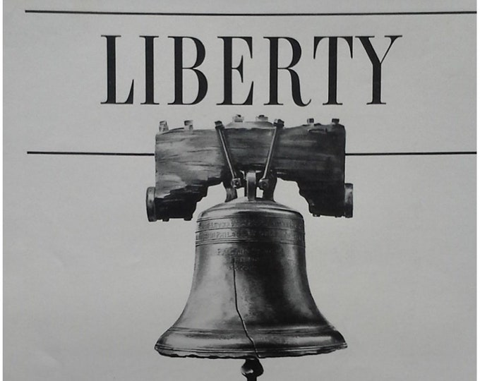 Liberty Bell as Patriotic Ad IBM Intl Bus Mach 1943 'Think, Talk, & Act' Independence Progress Strengthen US Philadephia PA 13x10 Frameable