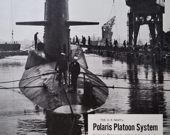 Militaria Polaris USN Platoon System Nuclear Submarines Lockheed GE 'Hidden..safe from surprise...he who attacks...' 13 x 10  Ready Frame