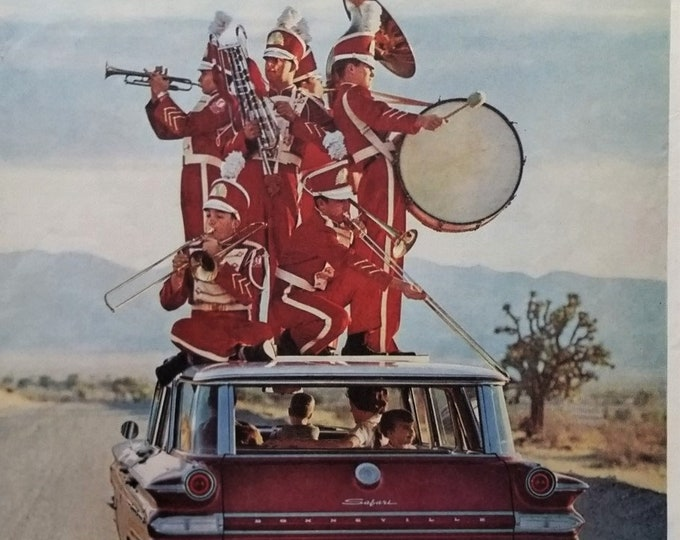 Band Camp Geeks College Drum Corp ON Top of CAR Family St Wagon Delco Radio so good.  Red White Uniforms Glochenspeil Goofy Ad.  Ready Frame