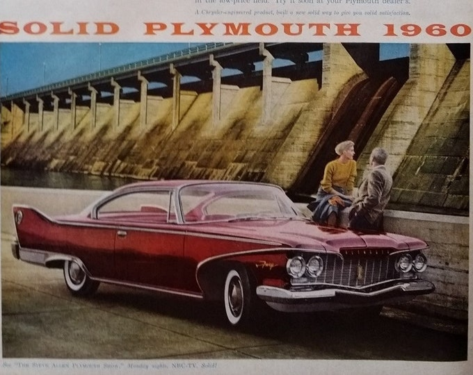 Red 60 Plymouth Fury Vintage Colors Secret Meeting Hoover Dam Classic Lines Detroit Lines Hard Top Cherry Red Man Cave 13x10 Ready to Frame