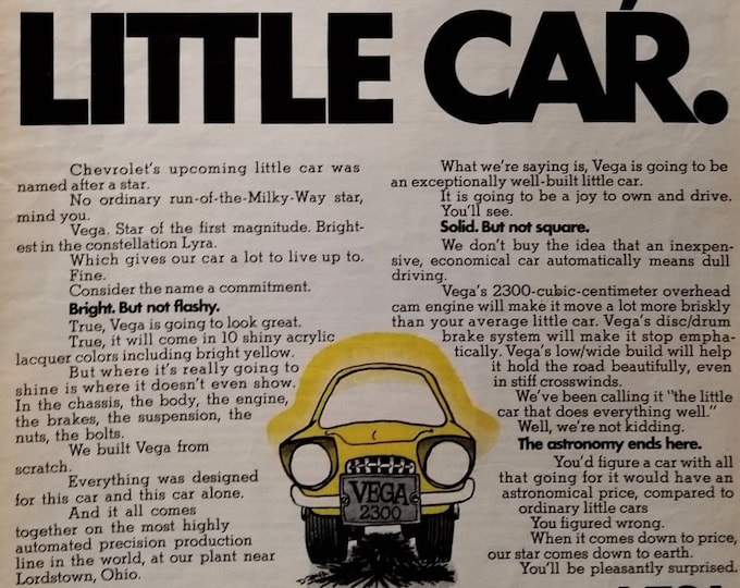 Absolute Cutest Car EVER.  Chevy VEGA Illustrated Yellow Cartoonish  Tiny car bonanza.  Edsel of the day!  the Vega - a rube of the 70s