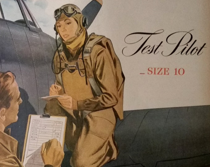 WWII Woman Pilot test 1940s Illustration Color.  Feminisim high call; daughters to be proud of...GLASS CEILING pilots.  Ready to Frame