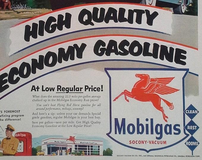 Mobilgas 1953 ad Red Pegasus Racing on Mountain Roads Illustrated Ad Retro Gas Station Man Cave Auto Oil Gas Epherema 13x10 Ready Frame