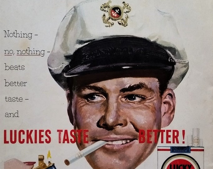 Captain Of His Ship Lucky Strikes 50s ad Illustrated Manly Sea Bearing Hunk Eying Woman Lighting Cigarette Smirk 13 x 10 Ready for Framing.