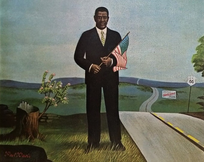 """Artist Paul Davis 60s John A. Williams """"This Is My Country Too"""" 1962 Illust Black Man American Flag Story Byways Patriotism 2pps 10x13 Frame"""