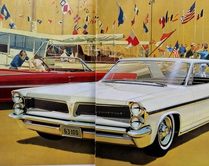 63 Pontiac Red Catalina Convertible White Bonneville Yachting International Flags Couples Pontiac Illust 2 pages 13 x 10. Ready for Framing.