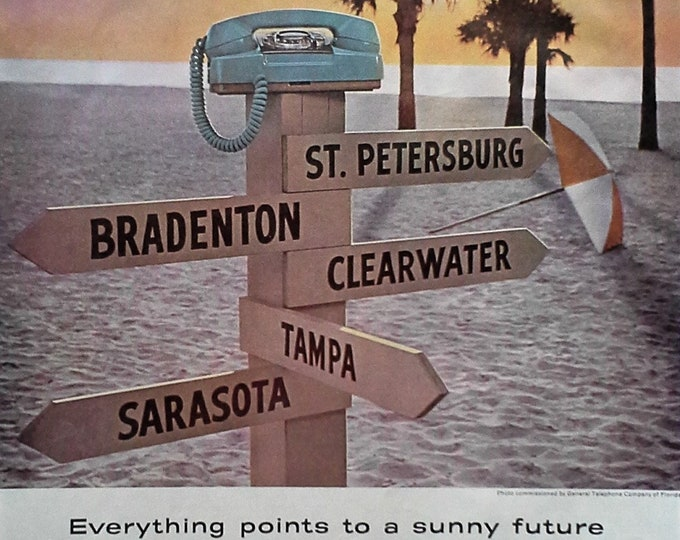 Florida Destinations Beaches Bell Telephone Ad Pointing Sign Beach Palm Trees Vacation Sunny Floridians Fun Fan Art Ad 13x11 Ready Frame