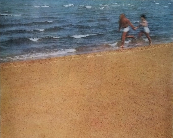 Michigan Tourism Ad 'Our Sand' Great Lakes Sleeping Bear Dunes 'Castle On the Beach' Couple running Shoreline Lk Mich 13 x 10  Ready Frame