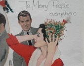 Christmas Modern Couple Red Santa Dress 39 Merry People Everywhere 39 Christmas Tree Hat Illustrated Sexy Couple 50s Pepsi Ready Frame 13 x 10.