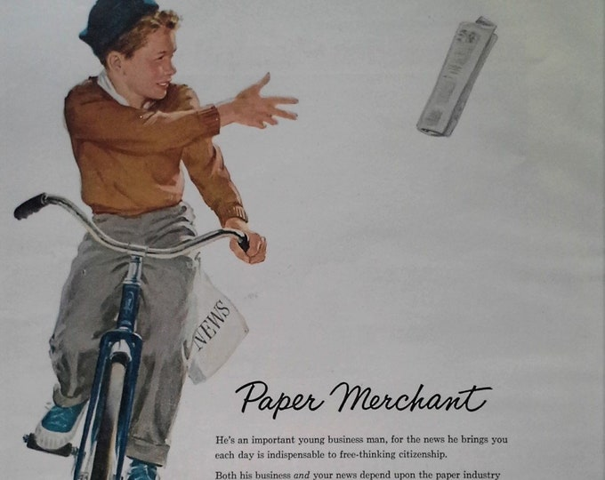 Teen Newspaper Delivery Boy on Bike 50s Blue Beanie Blue Sneakers Paper Ad Illustrated Ad 1954 Classic 1st Jobs 13x11 Ready to Frame