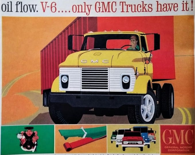 GMC Truck 1960s!  Super cool Post Modern Illustrated Truck Ad Art.  Yellow GMC Semi Truck with Load Graphic 13x10  Ready for Framing.