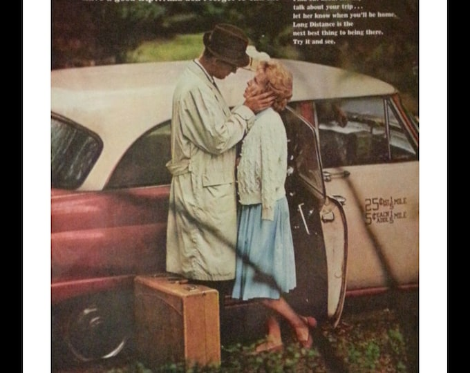 Beautiful Goodbye.  Just a phone call Please. Bell Phone Ad; sweet couple. 13 1/2 x 10 1/2.  Ready for Framing.