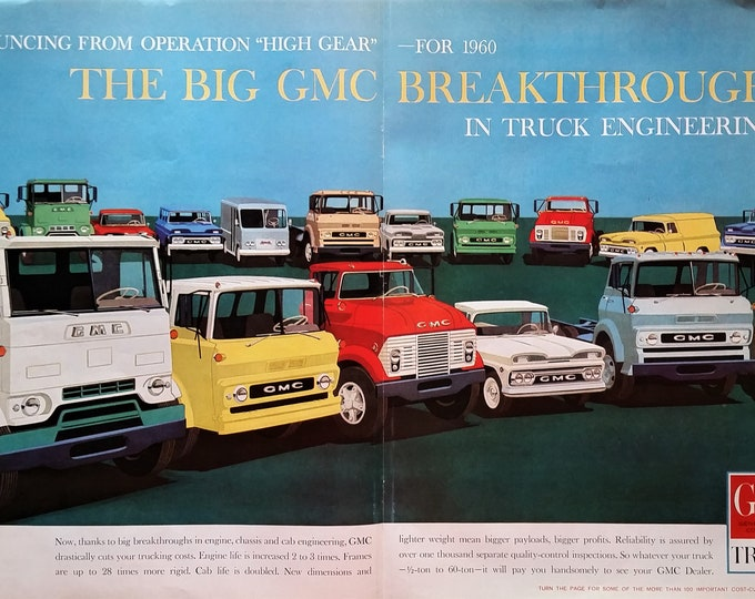 GMC Trucks 1960 Super cool Post Modern Illustrated Truck Ad Art. 2 pages GMC Varied Trucks Showroom Graphic Engine 13x10  Ready for Framing.