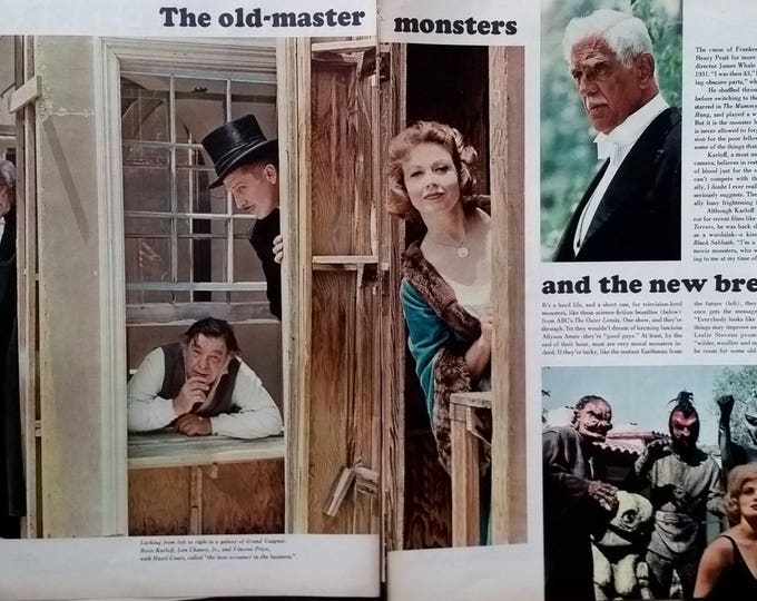 60s Movie Monsters Boris Carloff Lon Chaney Jr Vincent Price Monstor Toys New Horror Legends Cover Celebrities Scary 4pps 13x10 Ready Frame