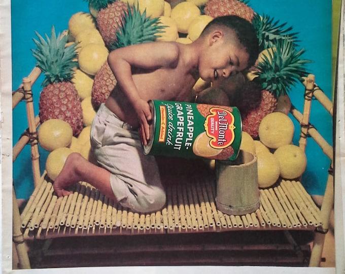 Hawaiian Native Boy and Del Monte  Pineapple Grapefruit Juice ad.  Nativistic Child Ad.  Hawaii.  Island boy.  13 x 10.  Ready for Framing.