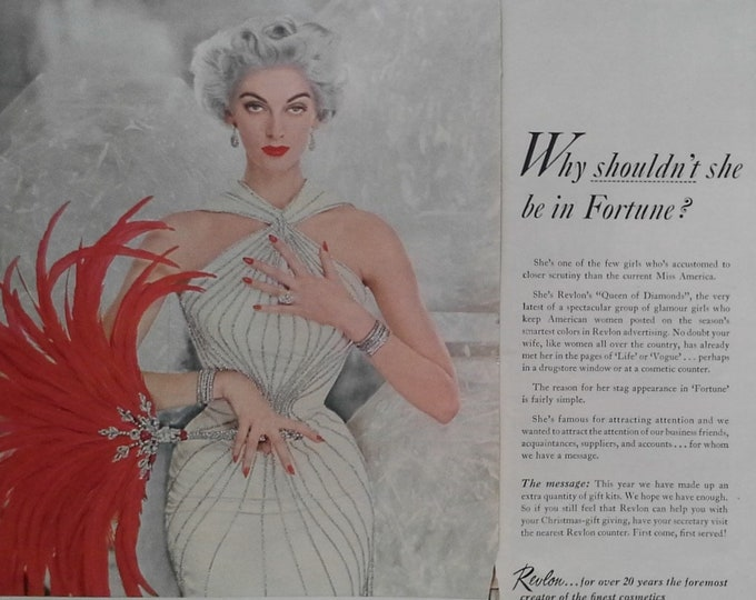 Queen of the Diamond Revlon's 50s Models 'Glamour Girls' Female Beauty Ad Silver Fashion Makeup Botique Spa Ad 2 pages 13x11 Ready to Frame