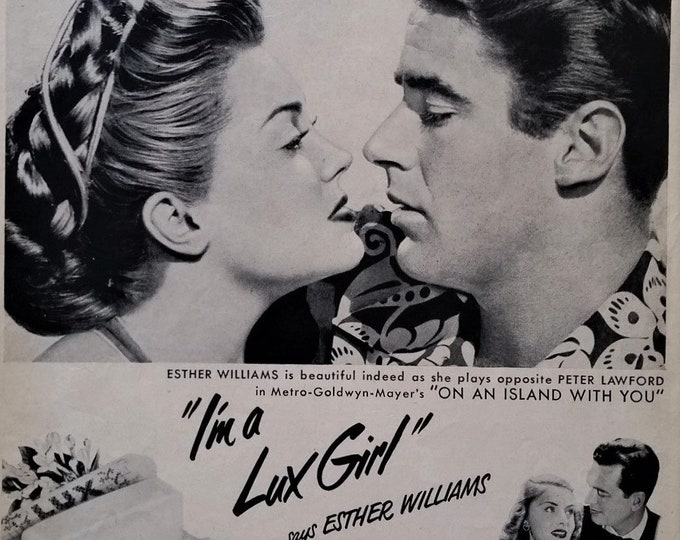 "Peter Lawford Esther Williams 1952 for Lux Soap '9 out of 10 Stars use..."" Rat Pack Lawford Kissing Couple BW Photo Ad Ready Frame."