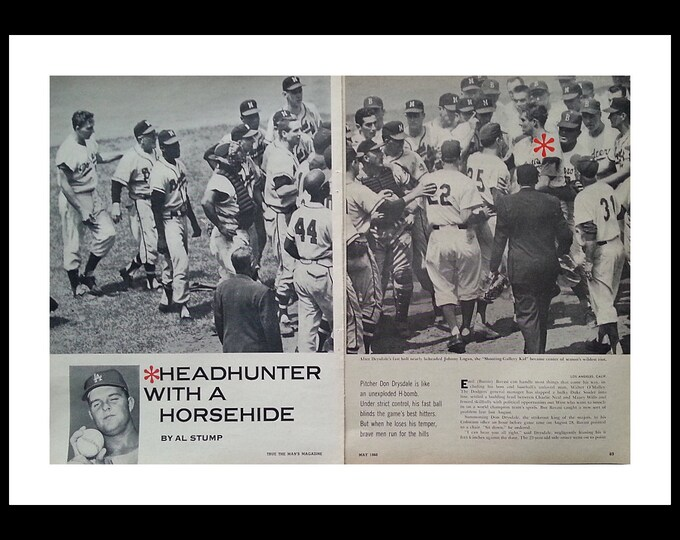 "Don Drysdale Vintage LA Dodger ""Headhunter"" & hothead. Fights and brushbacks.  Hank Aaron.   2 pages. 8 x 10.  Ready for Framing."