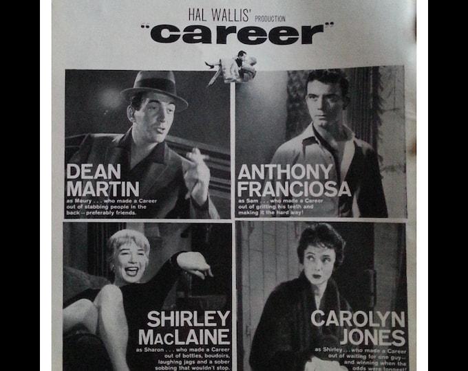 Dean Martin Movie Poster.  Movie Room Ad Art BW Photo 'Career' Dean Martin Shirley MacLaine.  Drama.  Ready for Framing.