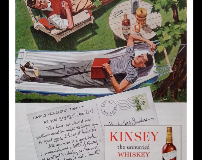 Cabin Ad Art Lazy Days Swinging and Relaxing Brothers and Whiskey.  40s Illustrated Ad for Kinsey Whiskey.  13 x 10.  Ready for Framing.