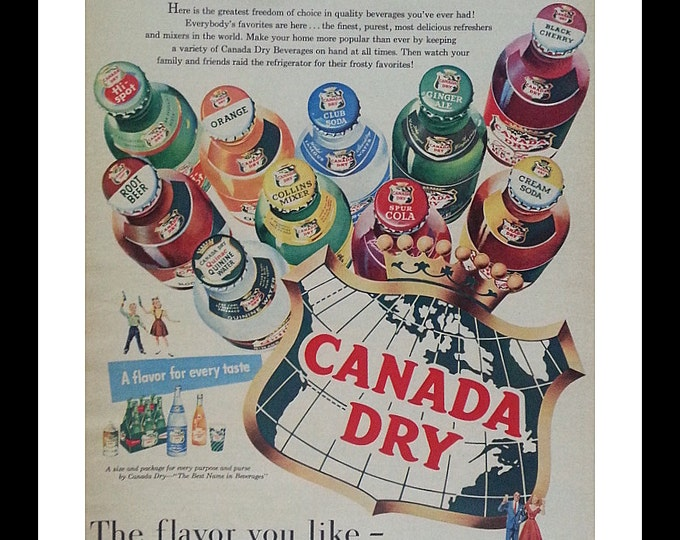 Artistic Colorful Ad.  Canada Dry Assortment Illustrated Unique Post Modern Design.  Classic Ad Art.  13 x 10.  Ready for Framing.