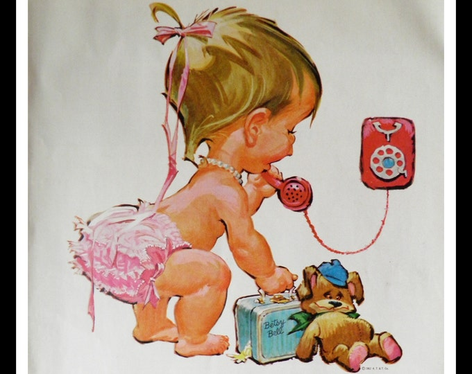 Cute Toddler Pink Shorts on the Phone.  Make you go 'Awwww'.  Illustrated Bell Phone ad.  Teddy Bears & Purses. 13 x 10. Ready for Framing.