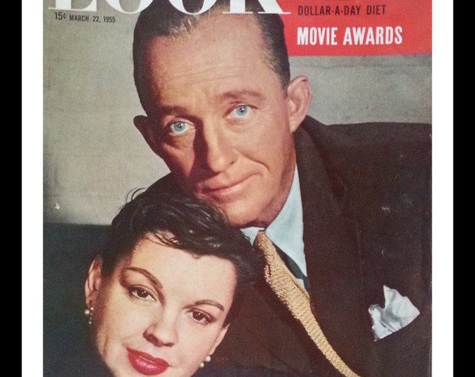 Judy Garland Bing Crosby 1955 Look Cover.  Campy Legend and Blue Eyes Baritone.  Celebrity cover.  Ready for Framing.
