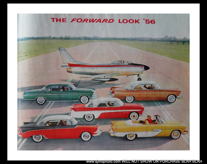 That Fast? USAF MiG-15 with 57 Detroit Models Chrysler, De Soto, Dodge, Imperial, and Plymouth.  Gutsy Hot Rods. 13x10  Ready for Framing.
