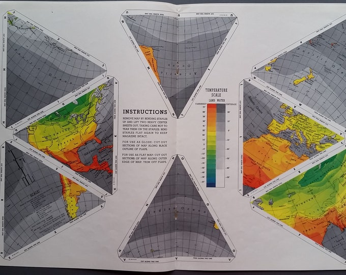 """1930s """"Dymaxion"""" R.Buckminster Fuller Architect Innovator & his  3-Dimensional World Map Cartography Fans 7 pages Kids Science Project Ready"""