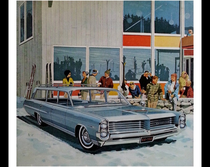 Ski Resort in Style.  Blue Bonneville Station Wagon.  Skiiers.  Post Modern Resort. VK AF Post Magazine 13 x 10.  Ready for Framing.