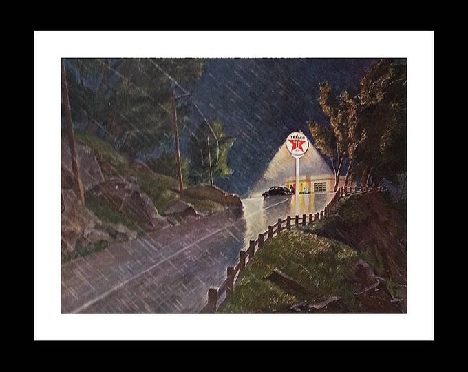Texaco Lone Star Oil Gas Company Memoribilia Transportation 40s Station Products Service Rainy Night Comfort Illustration. 13x10 Ready Frame