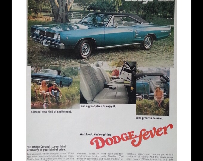 Dodge Coronet 500 1968.  Teal Blue Smokin'!  225 cubic inch 6 to a 440-cubic-inch Magnum V8.  RRRRROWW! 13 x 10. Ready for Framing.