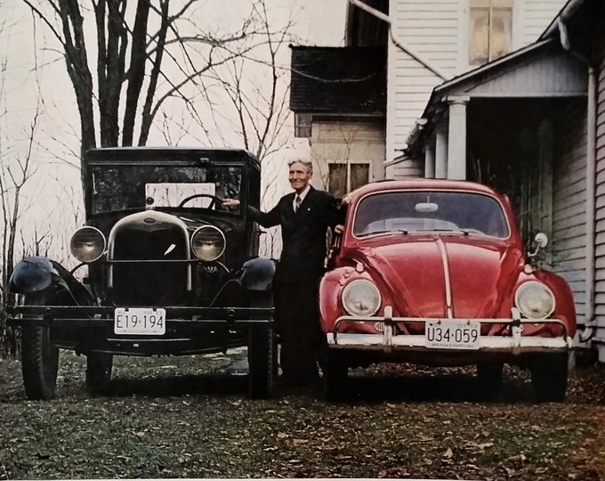 VW Volkswagon Volkswagen Bug Color 29' Model A Ford Trade-in Old Man Farm House 60s Bug Shopping 13x10 Ready for Framing.