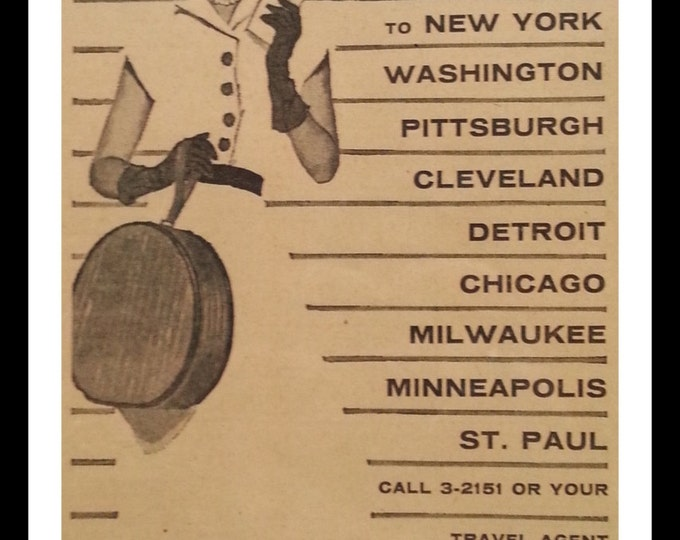 Capital Airlines 1957 New York Chicago DC Detroit Fashion Sharp Dresser.  Ad Airline Travel Muskegon Chronicle MI Clipping.