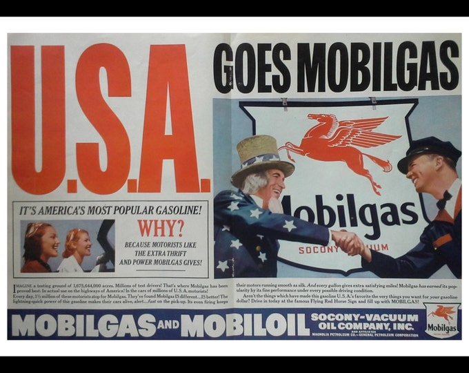 Mobilgas 1938 Vintage Ad WWII 'USA goes Mobilgas' Uncle Sam shakes Service Station Attndt's Hand.  2 page ad.  Ready for Framing.