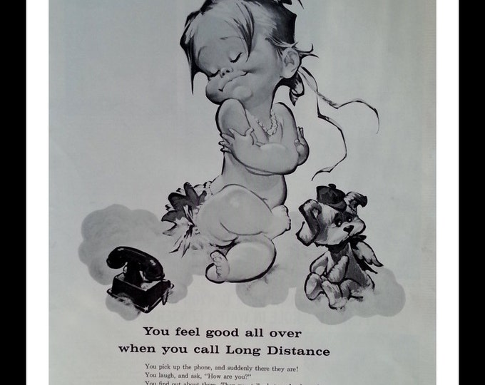 Cutest little Happy Naked baby playing house-Illustrated.  Fun Phone Ad.  Bell Phone Vintage.  13 x 10.  Ready for Framing.
