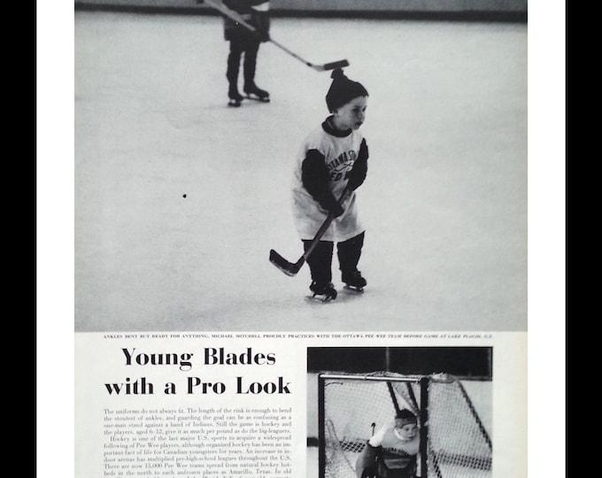 Lake Placid NY Kids Hockey Pee Wee Player  Kid on Skates with Hockey Sticks.  NY Rangers.  13 x 10.  Ready for Framing.