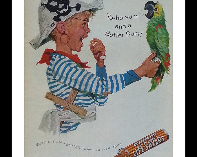 Kids Room Art Pirate Kid and Fun with Parrot.  Illustrated Lifesaver ad.  Colorful Fun Happy Kid.  Halloween Decoration.  Ready for Framing.