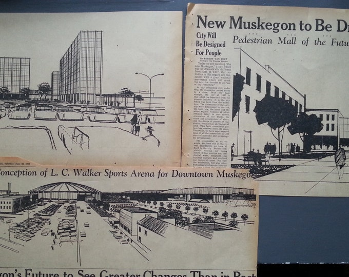 Muskegon MI Vintage Architect Plans 1957 Muskegon Architect View of Muskegon MI 1957 Art Deco Post Modern Wall Art Lot (3) Newspaper Exerpts