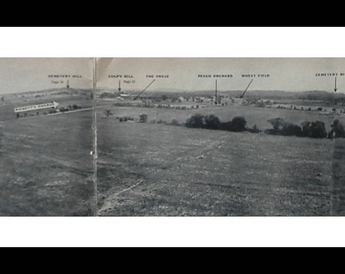 Gettysburg and Surrounding Battlefields Labeled 2 page BW photo Colonel Longstreet's Cabin Historic Civil War Theatre areas.  11 x 5