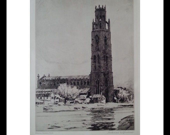 Boston Stump Legendary Churches Etchings Canterbury Tales. England.  Legendary Church BW Engraving Boston Stump 36 Bells by N Wilkinson 1939